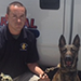 State Deputy Fire Marshal Kevin Martin and Arson Dog Sita